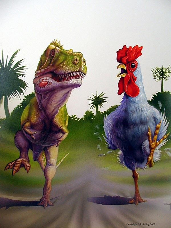 T-Rex and Giant Chicken running side-by side!
